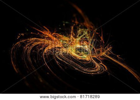 Abstract Fiery Fractal Texture In 3D Perspective