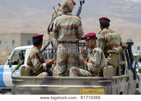 Yemeni military on duty in Hadramaut valley, Yemen.