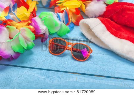 Lei, Sunglasses And Slippers