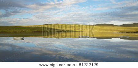 Scottish Landscape With Loch Leathan In Trotternish Peninsula. Skye. Scotland