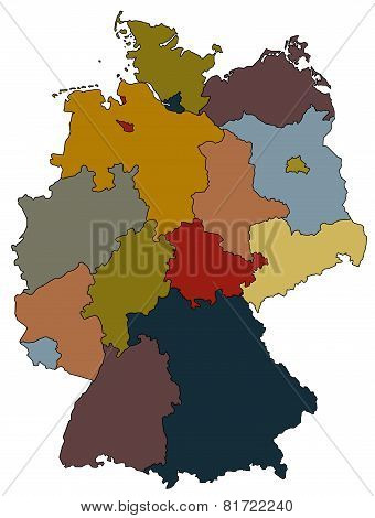 Germany Map - Provinces Colored