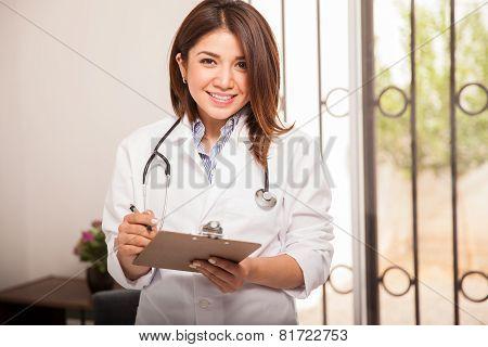 Cute Pediatrician At Work