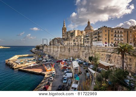 Skyline Of The Maltese Capital City Valletta, Malta