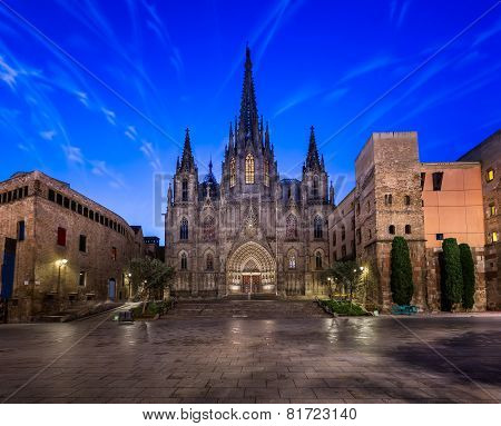 Angels Flying In Front Of The Cathedral Of The Holy Cross And Saint Eulalia, Barcelona, Catalonia, S