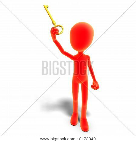 symbolic 3d male toon character has the key to
