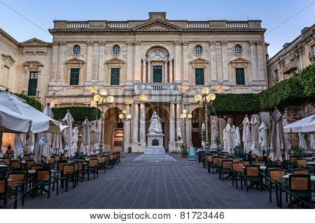 National Library Of Malta In The Evening, Valletta, Malta