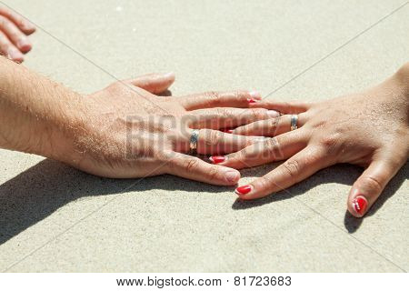 wedding rings on the fingers