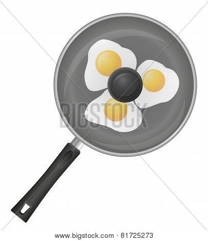 Fried Eggs In A Frying Pan Vector Illustration
