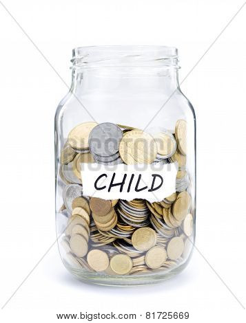 Jar with coins on Child.