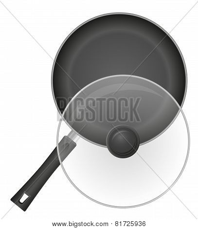 Frying Pan With A Transparent Cover Vector Illustration