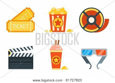 Flat icons set of professional film production, movie shooting, studio showreel, actor casting, stor