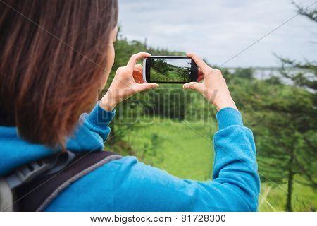 Traveler Woman Taking Photographs Summer Landscape