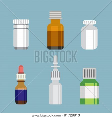 Flat style medical pharmaceutical bottles glasses containers scales icon set. Medicine pharmacy