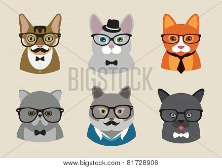 Cute fashion Hipster Animals with flat design. Vector Illustration