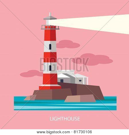 Vector Flat Red Beacon