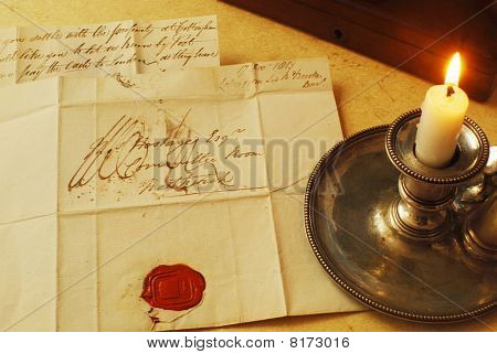 Old candle letter and seal