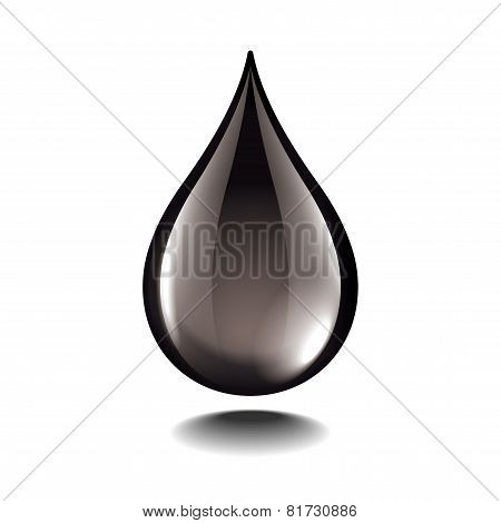 Black Oil Droplet Isolated On White Vector