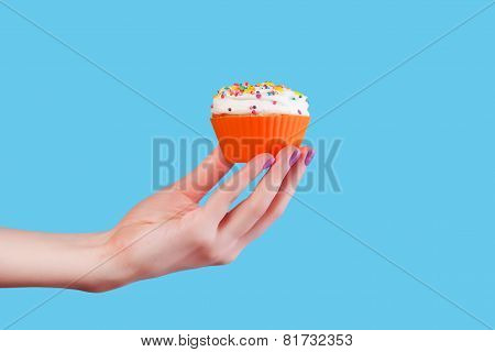 Hand Holding Cupcake On Blue Background
