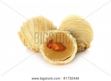 Chinese Pastry Or Moon Cake Dessert Festival China Isolated On White Background