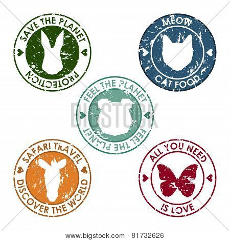 Animal Round Stamp Set With Protection, Save, Discover And Love Slogan For Use In Design