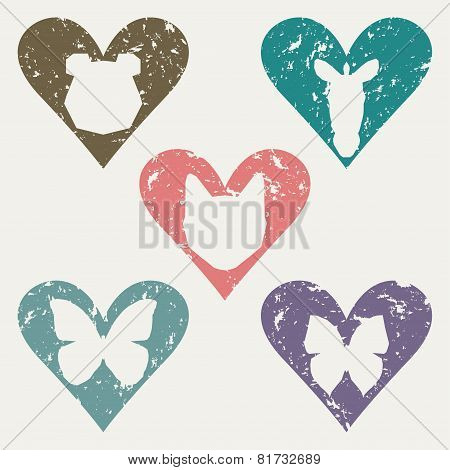 Animal Heads In The Heart Stamp Set For Use In Design In Materials And Works Aimed At The Protection