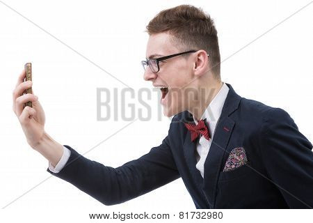 Angry Business Man Screaming On Cell Mobile Phone, Portrait Of Young Handsome Businessman Isolated O