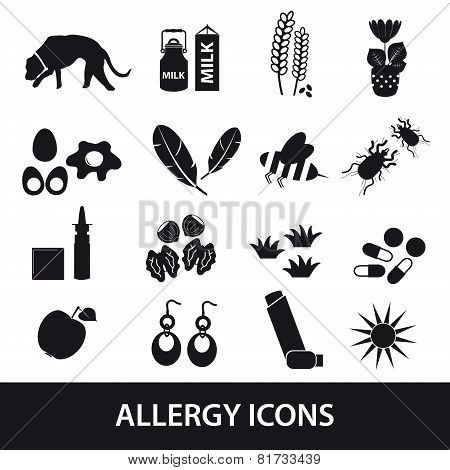 Allergy And Allergens Black Icons Set Eps10
