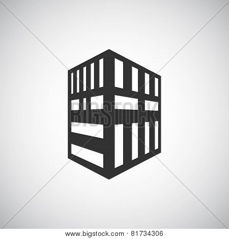 Abstract Architecture Building Silhouette Logo Design Template. Skyscraper Real Estate Business Them