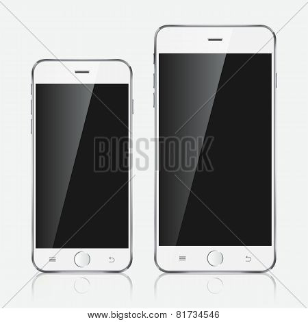 Realistic White Mobile Phone.