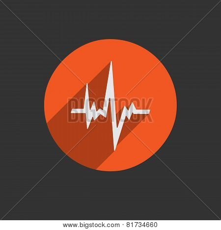 Pulse Heart Rate Icon In Flat Style With Long Shadow
