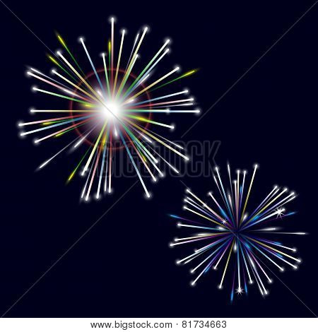 Two Types Of Colorful Shiny Fireworks On Black Background Eps10