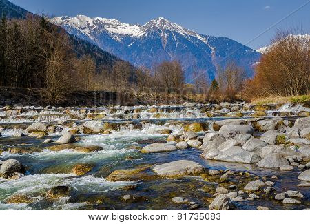 Rocky River In The Alps