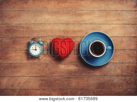 Clock, Shape Heart And Cup Of A Coffee.
