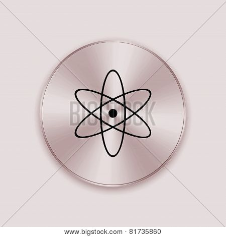 Bronze Metal Button With Nuclear Icon