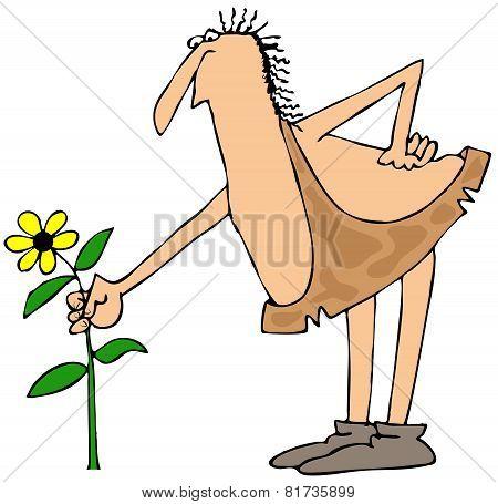 Caveman picking a flower