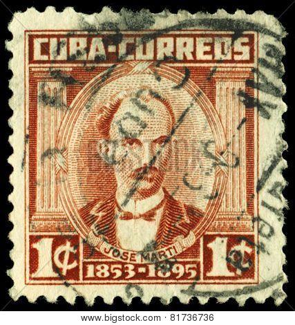 Vintage Postage Stamp. Jose Marti