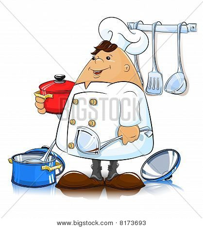 cook with kitchen utensils