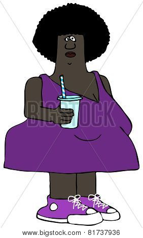 Chubby woman holding a drink cup