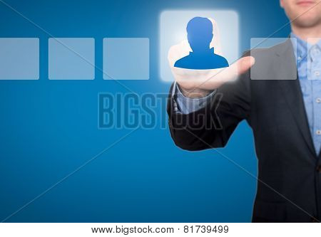 Businessman Touching Profile Button and Ticking Check Box