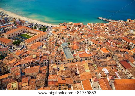 Top View Of Cefalu Small Houses