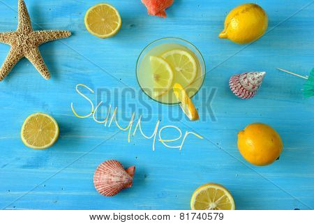 Fresh Lemonade With Starfish And Seashells