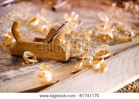 Wood planer and shavings