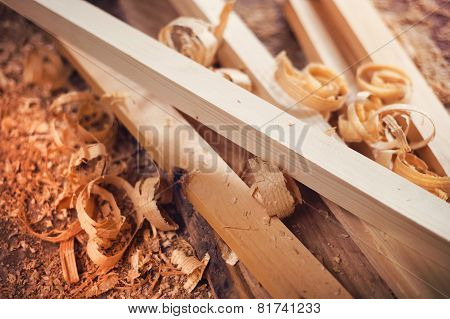 Wooden planks and shavings