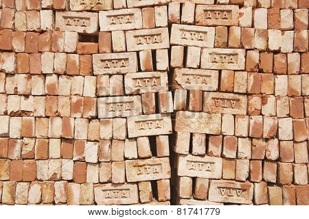 Stack of bricks for sale in Dhaka, Bangladesh.