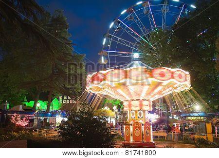 Night Illumination In Park Riviera , Sochi City