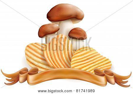 Potato Chips And White Mushrooms