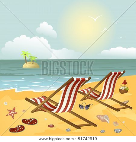 Two chaise longue on the beach