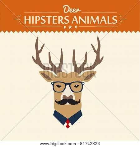 background and greeting card with hipster deer