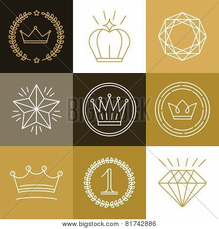 Set Of Linear Gamification Badges