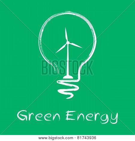 vector green energy lamp